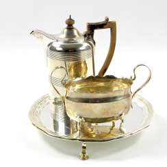 ENGLAND tray with a mocha pot and Handle bowl, silver, 20. Century