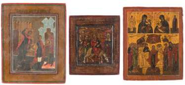 THREE SMALL ICONS: CHRIST'S ENTRY TO JERUSALEM, THE BEHEADING OF JOHN THE FORERUNNER, AND MIRACULOUS IMAGES OF THE MOTHER OF GOD
