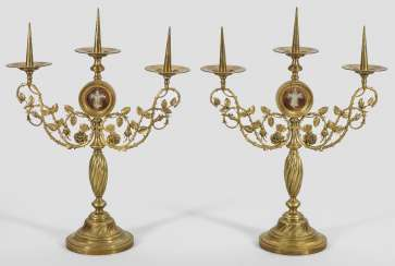 Pair of large table candlesticks, in the Baroque style