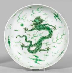 Small plate with green dragon decoration