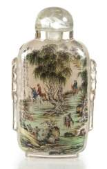 Snuffbottle made of glass with a fine interior painting