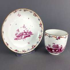 Rare Cup: Maximum Of Porcelain, 1763 - 1796. Decor fruit still life and floral tendrils. Brown Rrand. Rare and very good