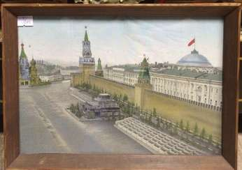 "Silkscreen ""the Kremlin/Red square"" of the XX century."