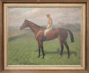 KARL VOLKERS, racehorse with Jockey, Oil on canvas, Germany, in 1943.