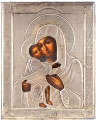SMALL ICON OF THE MOTHER OF GOD FEODOROWSKAJA WITH SILVER OKLAD