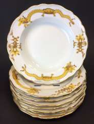 Nine Plates: Meissen Porcelain. Rich Yellow dragon, Golden scaled. The gold edge.