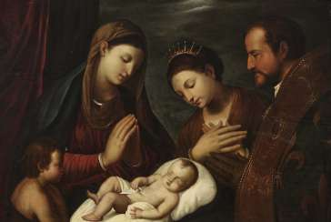 Adoration of the sleeping baby Jesus