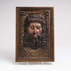 Museum boxwood figure of 'Christ in the grid'