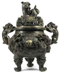 Incense burner, Bronze with remains of gilding
