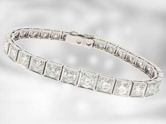Bracelet: exclusive, top-class brilliant bracelet in 14K white gold, expensive manual labor, approximately 10.3 ct brilliant-cut diamonds, the court jeweller Roesner from the time of the Art Deco