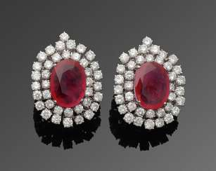 Pair of elegant jewel clip-on earrings with ruby and diamond trimming