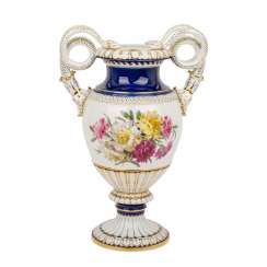 MEISSEN splendid snake handle vase, 1860-1924, 1st choice,