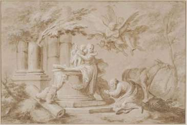 ITALY 17./18. Century. Holy family resting on the flight to Egypt