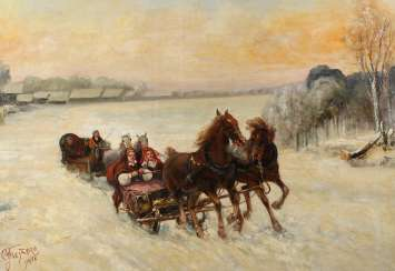 Horse-drawn sleigh in a Russian winter landscape