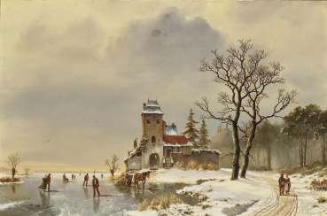 Winter landscape with architecture, and figure staffage