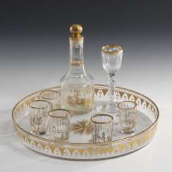 Tray, carafe and 5 + 1 liqueur glasses