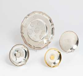Coin plate & 3 small bowls with coins