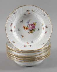 Meissen seven soup plates with insects painting