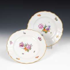 2 plates with flower painting, ROYAL COPEN