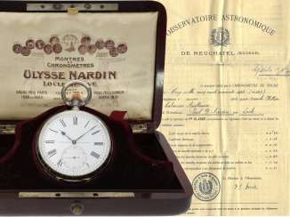 Pocket watch: the only known Ulysse Nardin Observatory chronometer with Niello decoration, original box, chronometer certificate from the Observatory of Neuchatel in 1907, as well as interesting hand-written letter accompanying