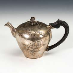 A silver pot with a wooden handle.