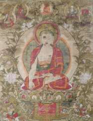 Gautama Buddha, Shakyamuni, colored block print on silk