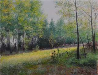 Original landscape painting oil on canvas, Sunny day