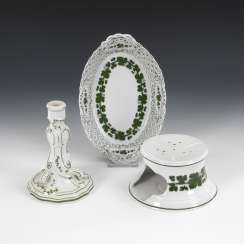 Basket, candlestick, and teapot warmer with vine leaf decoration, MEISSEN