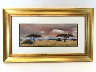 Ron Waldeck (1946 Rhodesia - in South Africa): steppe landscape in South Africa, with an umbrella acacia. Watercolor on handmade paper.