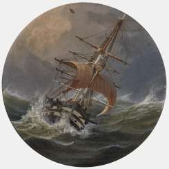 Johann Baptist Weiss, sailing ship in rough seas