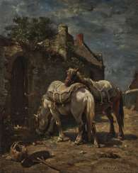 Two resting horses