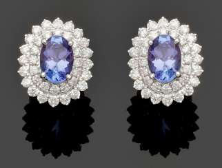 Pair of exquisite tanzanite and diamond earrings
