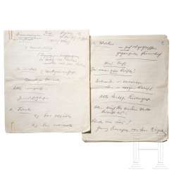 Seven-page manuscript by Hitler for his speech on the occasion of the 15th anniversary of the NSDAP local branch in Augsburg on November 21, 1937