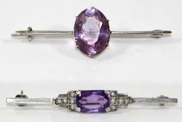 Pair of amethyst brooches