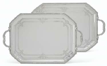 A PAIR OF FRENCH SILVER TWO-HANDLED TRAYS