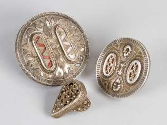 Three Kazakh silver rings of different size and shape