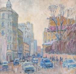 RUSSIAN IMPRESSIONIST Active in the 2nd half of the 20th century Street scene Oil on hardboard. 54
