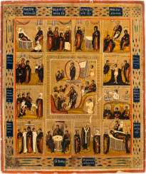 LARGE-FORMAT ICON WITH THE RESURRECTION OF CHRIST AND THE TWELVE GREAT FEASTS OF THE ORTHODOX CHURCH YEAR