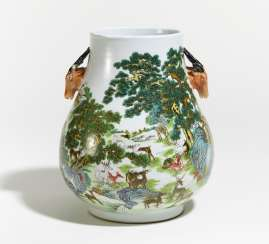 HU-VASE OF THE HUNDRED DEER AMONG THE PINES,