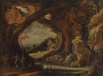 Grotto landscape with two hunters