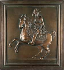 Relief plate WITH FRIEDRICH II. OF Prussia on HORSE (CAST at the BEGINNING OF the 20th century. JH.)