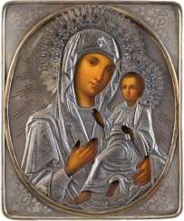 LARGE ICON OF THE MOTHER OF GOD OF TIKHVIN (TICHWINSKAJA) WITH SILVER OKLAD