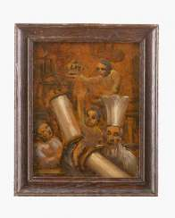 Emmanuel Mane-Katz (1894-1962) - attributed Oil study of rabbi with his scholars carring the scrolls oil on paper laid down on wood described on the reverse framed