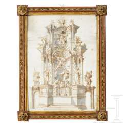 Monogrammed and dated drawing of a Baroque altar, South German, dated 1732