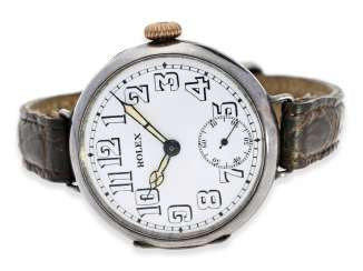 Watch: very early Rolex gents watch from the time around 1915, enamel dial and silver case