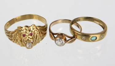 3 Ring with trim - yellow gold 333