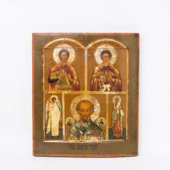 Five-field icon with Saint Nicholas, Russia, around 1800 to 1830,