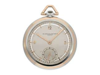 Pocket watch: elegant and extremely rare Vacheron & Constantin Art Deco Frackuhr with Bicolour case rose gold/white gold, approx. 1938
