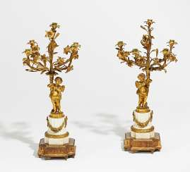 Pair of candelabra with amorette style Louis XV