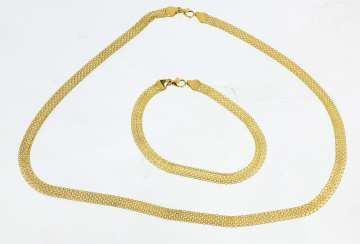 Gold necklace and bracelet - yellow gold 585